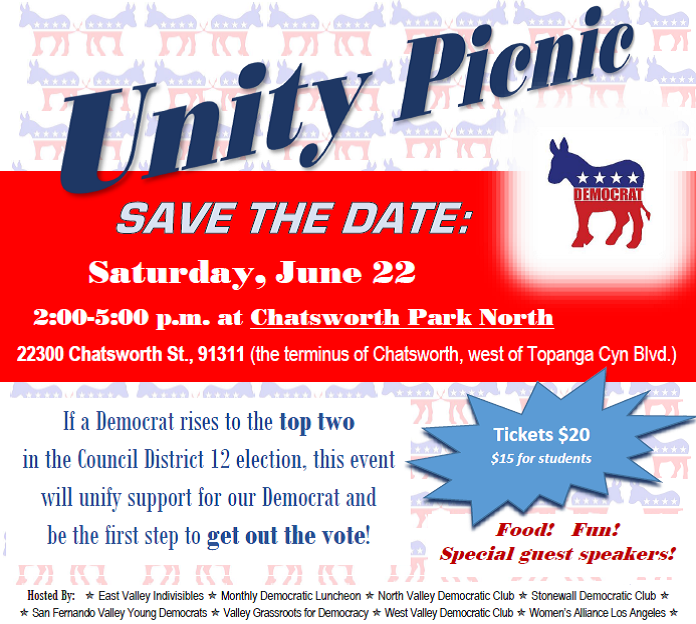 Unity Picnic--Save the Date--Saturday, June 22--Chatsworth Park North--Food! Fun! Special guest speakers!